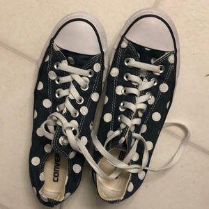 Denim blue polka dot converse